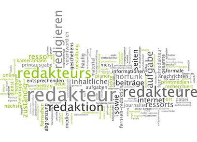 Schlagwortwolke mit Begriffen rund um die Arbeit als freier Online Redakteur