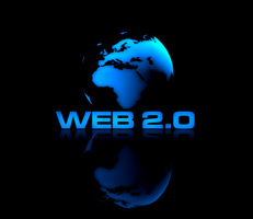 Schematischer Globus mit Schriftzug Web 2.0, Sinnbild für den Redakteur Social Media Marketing